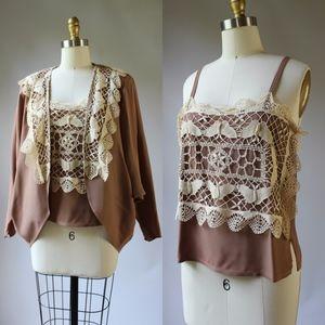 Vintage 70s Boho Lace Tank & Jacket